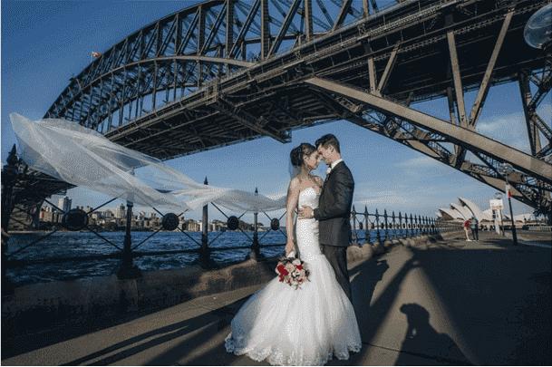 Sydney Darling Harbour Bridge with Bride and Groom