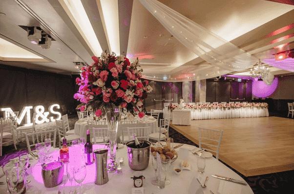 Dockside Wedding Venue - Pink Flower Centrepieces