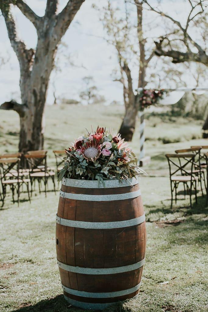Wedding Ceremony Styling Barrels - Queensland - ABIA Real Wedding